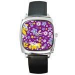 Floral Flowers Square Metal Watch