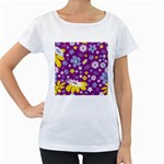 Floral Flowers Women s Loose-Fit T-Shirt (White)