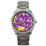 Floral Flowers Sport Metal Watch