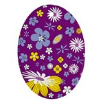 Floral Flowers Oval Ornament (Two Sides)
