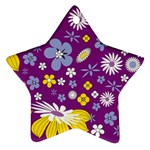 Floral Flowers Star Ornament (Two Sides)