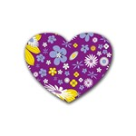 Floral Flowers Heart Coaster (4 pack)