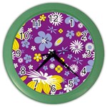 Floral Flowers Color Wall Clocks