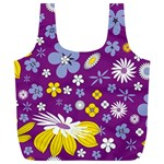Floral Flowers Full Print Recycle Bags (L)
