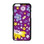 Floral Flowers Apple iPhone 6/6S Black Enamel Case