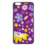 Floral Flowers Apple iPhone 6 Plus/6S Plus Black Enamel Case