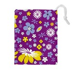 Floral Flowers Drawstring Pouches (Extra Large)
