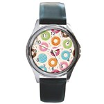 Colored Doughnuts Pattern Round Metal Watch