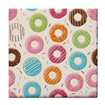 Colored Doughnuts Pattern Tile Coasters