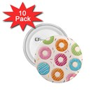 Colored Doughnuts Pattern 1.75  Buttons (10 pack)