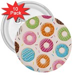 Colored Doughnuts Pattern 3  Buttons (10 pack)