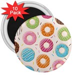 Colored Doughnuts Pattern 3  Magnets (10 pack)