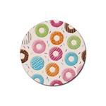 Colored Doughnuts Pattern Rubber Round Coaster (4 pack)