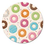 Colored Doughnuts Pattern Magnet 5  (Round)