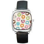 Colored Doughnuts Pattern Square Metal Watch