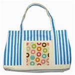 Colored Doughnuts Pattern Striped Blue Tote Bag