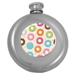 Colored Doughnuts Pattern Round Hip Flask (5 oz)