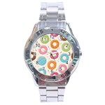 Colored Doughnuts Pattern Stainless Steel Analogue Watch