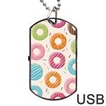 Colored Doughnuts Pattern Dog Tag USB Flash (One Side)