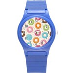 Colored Doughnuts Pattern Round Plastic Sport Watch (S)