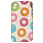 Colored Doughnuts Pattern Apple iPhone 4/4S Hardshell Case (PC+Silicone)