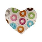 Colored Doughnuts Pattern Standard 16  Premium Heart Shape Cushions