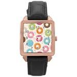 Colored Doughnuts Pattern Rose Gold Leather Watch