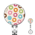 Colored Doughnuts Pattern Stainless Steel Nurses Watch