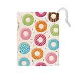 Colored Doughnuts Pattern Drawstring Pouches (Large)