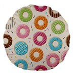 Colored Doughnuts Pattern Large 18  Premium Flano Round Cushions
