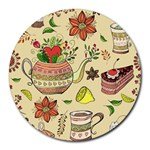 Colored Afternoon Tea Pattern Round Mousepads