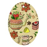 Colored Afternoon Tea Pattern Ornament (Oval)