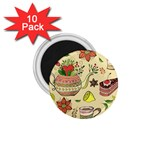 Colored Afternoon Tea Pattern 1.75  Magnets (10 pack)