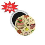 Colored Afternoon Tea Pattern 1.75  Magnets (100 pack)