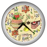 Colored Afternoon Tea Pattern Wall Clocks (Silver)