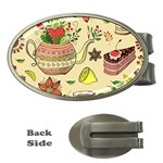 Colored Afternoon Tea Pattern Money Clips (Oval)