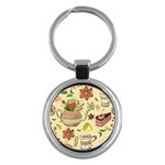 Colored Afternoon Tea Pattern Key Chains (Round)