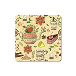 Colored Afternoon Tea Pattern Square Magnet