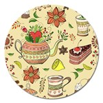 Colored Afternoon Tea Pattern Magnet 5  (Round)