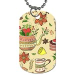 Colored Afternoon Tea Pattern Dog Tag (Two Sides)