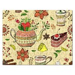 Colored Afternoon Tea Pattern Rectangular Jigsaw Puzzl