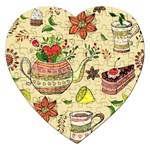 Colored Afternoon Tea Pattern Jigsaw Puzzle (Heart)