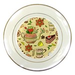Colored Afternoon Tea Pattern Porcelain Plates