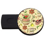 Colored Afternoon Tea Pattern USB Flash Drive Round (4 GB)