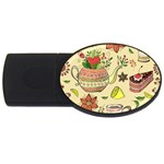 Colored Afternoon Tea Pattern USB Flash Drive Oval (4 GB)