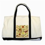 Colored Afternoon Tea Pattern Two Tone Tote Bag