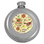 Colored Afternoon Tea Pattern Round Hip Flask (5 oz)