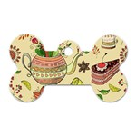 Colored Afternoon Tea Pattern Dog Tag Bone (One Side)