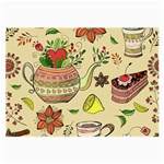 Colored Afternoon Tea Pattern Large Glasses Cloth (2-Side)