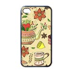Colored Afternoon Tea Pattern Apple iPhone 4 Case (Black)